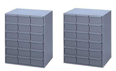 Durham 006-95 Gray Cold Rolled Steel Vertical Storage Cabinet, 17-1/4'' Width x 21-1/4'' Height x 11-5/8'' Depth, 18 Drawer (2-(Pack))