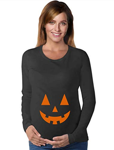 Jack O' Lantern Pumpkin Smuggler Halloween Pregnancy Maternity Long Sleeve Shirt Medium Black -