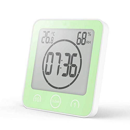 YHEGV Wall Clock Mute Magnificent Glass Electronic Room, The Temperature & Humidity, Countdown Anti-Fog Sucker Mute Waterproof (Color Green)