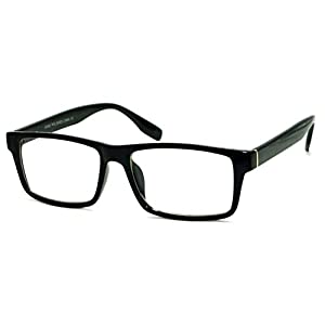 VINTAGE Designer Style Rectangle Frame Clear Lens Eyeglasses (Black, Clear)