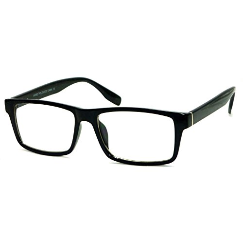 VINTAGE Designer Style Rectangle Frame Clear Lens Eyeglasses (Black, - Glasses Black Rectangle