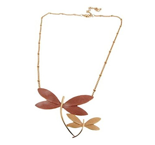 Alexander Thurlow Brown Dragonfly Necklace Pendant Rose Gold Coloured Finish