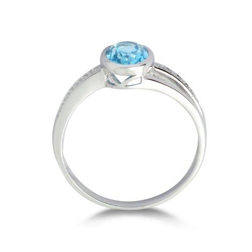 Miore - MG9012RP - Bague Femme - Or blanc 375/1000 (9 carats) 1.62 gr - Topazes bleues et diamants  - T 56