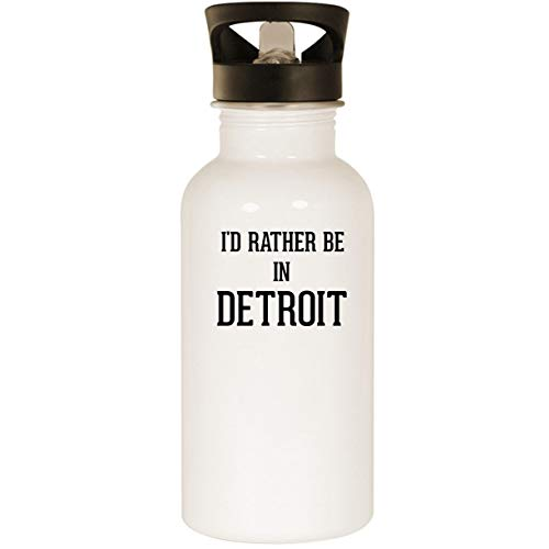 Id Rather Be In Detroit   Stainless Steel 20Oz Road Ready Water Bottle  White
