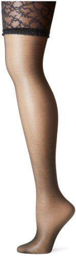 Berkshire Sheer Silky Queen (Berkshire Women's Plus-Size Queen Silky Sheer Sexyhose Stockings 1361, Black, A-B)