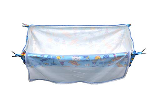 Sunflower Soft Cloth Swing New Born Baby Cradle/Ghodiyu/Khoyu Hammock in Cool Cotton with Net, Blue(Without Steel Hangers)