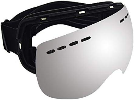 プロのフレームレススキー眼鏡、強力な吸着用の8個の磁石、レンズの迅速な交換、二重層防曇ハイエンドスノーゴーグルスキーギア、近視メガネの着用が可能