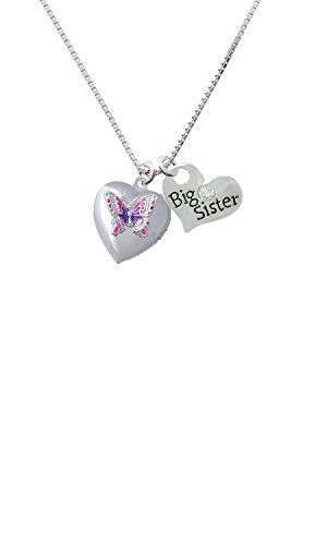 Pink & Purple Butterfly Locket Big Sister Heart Necklace, 18