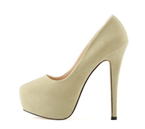 Women's Fashion Round Toe Stiletto Slip On Platform Pumps High Heels Shoes s beige velveteen