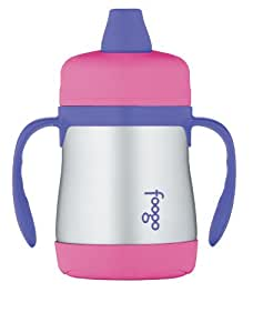 THERMOS FOOGO Vacuum Insulated Stainless Steel 7-Ounce Soft Spout Sippy Cup with Handles, Pink/Purple