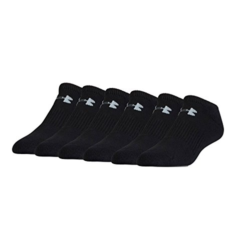 Under Armour Boy`s Charged Cotton 2.0 No Show Socks, 6 Pack (Small (13.5K-4Y Youth Shoe Size), Black (001) / Stealth/Black)