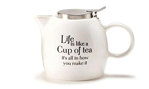 Simply Said-28 oz Ceramic Infuser Teapot - Life is Like a Cup (Make Tea Teapot)