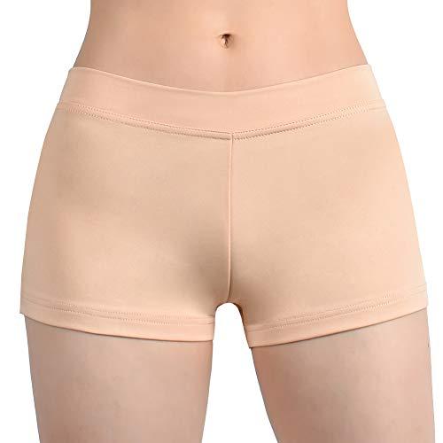 (SUPRNOWA Girl's Women's Boy Cut Low Rise Lycra Spandex Active Dance Shorts Yoga Workout Fitness (Nude,)