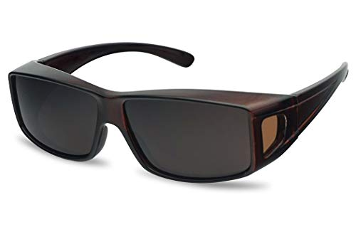 Polarized Wear Over Sunglasses Square Fit Over Glare Blocking Over Prescription Glasses (Brown, - Over Glass Sunset