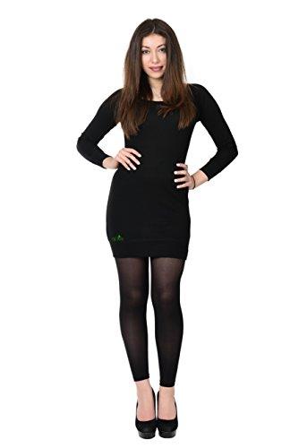 3elfen Longue Robe T-shirt Chemise À Manches Longues Avec Fille Oiseau Par, Dame Mini Robe Vert Noir