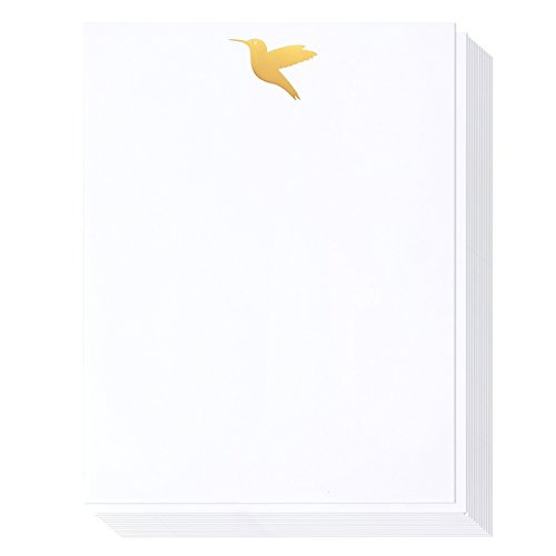 Nice Stationery - Stationery Paper - 48 Pack Gold Foil Letterhead Paper White, 8.5 x 11 Inches