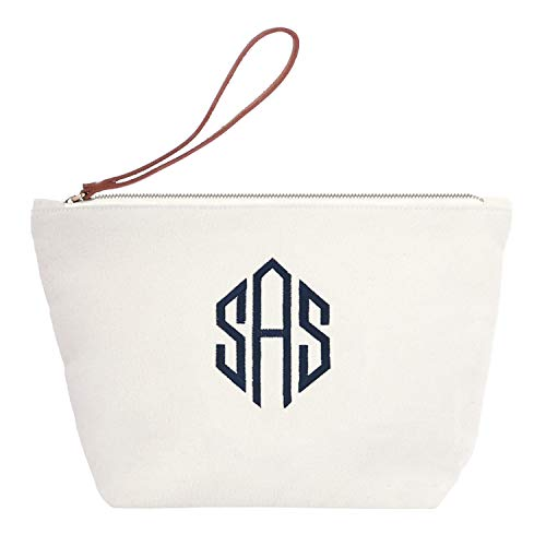Personalized Custom Gift Makeup Cosmetic Bag Monogram Initial Diamond Embroidery Wristlet Travel Toiletry Clutch with Zip Canvas ()