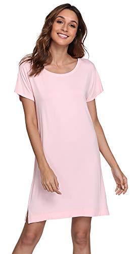NEIWAI Nightgowns Womens Short Sleeve Sleepwear Scoop Neck Night Shirts Pink XL