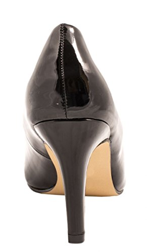Elara Damen Pumps | Stiletto High Heels | Abendschuh Metallic Negro - negro