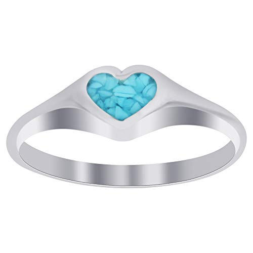 Southwest Inlay - Gem Avenue 925 Sterling Silver Turquoise Chip Inlay Heart Southwestern Style Ring Size 8