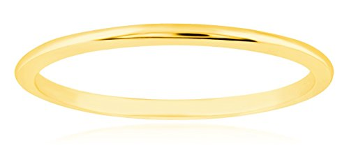 1mm Thin 14k Yellow Gold Wedding Band Ring, Size 7 ()