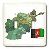 3dRose lsp_99098_2 The Map and Flag of The Islamic Republic of Afghanistan with All The Provinces Marked Double Toggle Switch