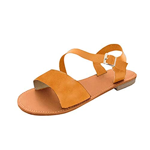(Opinionated Flat Sandals with Oblique Band Ankle Strap for Women Female Open Toe Sandals Summer Flat Casual Shoes)