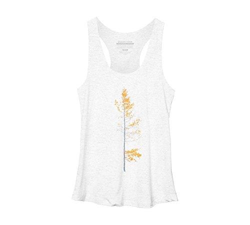 Design By Humans Autumn Aspen Solitude Womens Small White Heather Racerback Tank Top