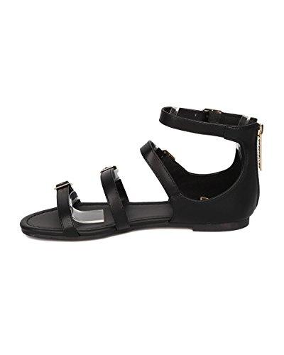 Breckelles Kvinnor Spände Flat Sandal - Strappy Öppen Tå Sandal - Gladiator Sandal - Ha10 Av Svart Konstläder