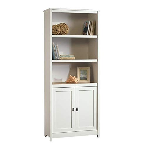 Sauder Cottage Road Library with Doors, Soft White finish (And Family Room Cabinets Shelves)