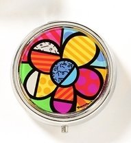 Romero Britto Glass and Metal Pill Box Round Flower (One Pill Case ()
