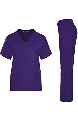 Contrast Trim Mock Wrap Top - MedPro Women's Medical Scrub Set Mock Wrap and Cargo Purple M (GT-755 Purple)