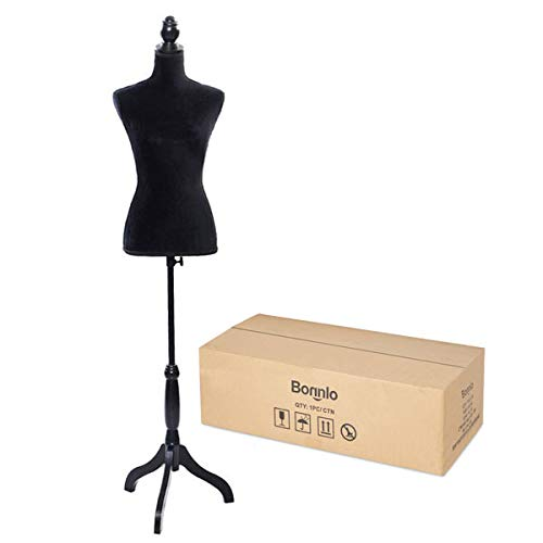 Bonnlo Female Dress Form Pinnable Mannequin Body Torso with Wooden Tripod Base Stand (Black, 6) -