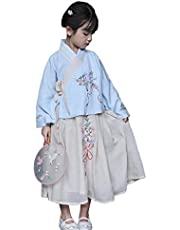 XueXian Hanfu Kids Chinese Costume Girls Long Sleeve Tops Tang Suit Embroidered Maxi Skirt Set