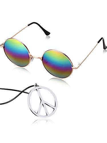 - Tatuo Hippie Dressing Accessory Set Hippie Glasses and Peace Sign Necklace (Rainbow)