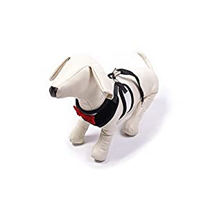 BINGPET Velvet Red Bowtie Gentleman Suit Boy Dog Tuxedo Harness Vest for Dogs with Handle Small