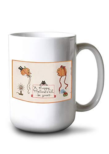Halloween Greeting - Mr. and Mrs. Jack-O-Lantern (15oz White Ceramic Mug)]()