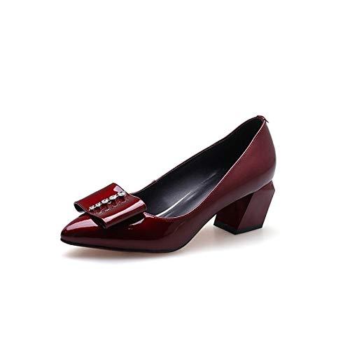 ZHZNVX Zapatos de Mujer Nappa Leather Spring & Summer Comfort Tacones Chunky Heel Black/Wine Wine