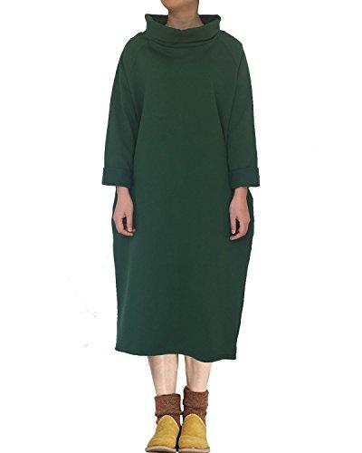 (Aeneontrue Women's Long Sleeve Turtleneck Sweatshirt Dress High Low Hem Fleece Dresss Green XL)