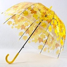 Leaves Cage Umbrella Transparent Rainny Sunny Umbrella Parasol Cute Umbrella Women Cute Clear Paraguas (Yellow