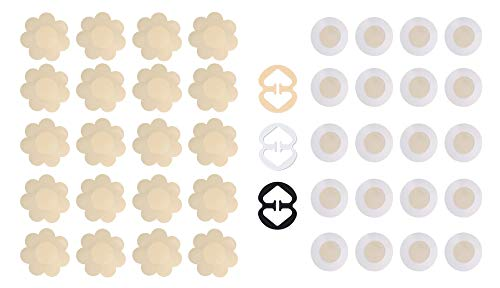 Daisyformals 20 Pairs Sexy Pasties Satin Nipple Cover Breast Petal pasties Disposable(Flower & Round)