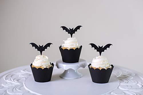 Anpay 12PCS Black Bat Cups Cake+Cake Topper Package Picks Party Decoration