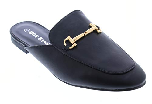 Hot Kiss Sandy Womens Horsebit Faux Leather Backless Mule Flats Shoes,Ladies Mules Loafers Slipper for Women Black 8.5