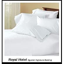 Royal Hotel's Solid White 600-Thread-Count 4pc Olympic Queen Bed Sheet Set 100-Percent Egyptian Cotton, Sateen Solid, Deep Pocket