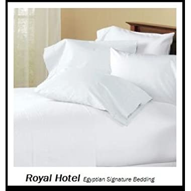 Royal Hotel's Solid White 600 Thread Count 4pc Queen Bed Sheet Set 100% Egyptian Cotton, Sateen Solid, Deep Pocket