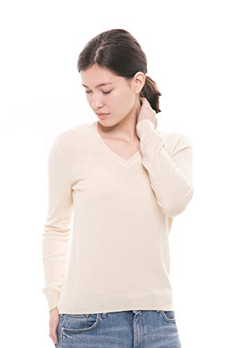 Beige Sweater Cashmere (Goyo Cashmere Women's 100% Pure Cashmere Sweater - Long Sleeve V-Neck Pullover (Light Beige, L))