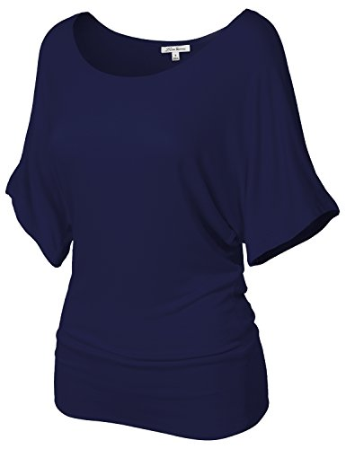 Fashionable Baggy Drape Batwing Tunic Top Shirts 107-Navy US M