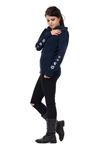 Chaqueta cremallera Azul con 3elfen Yang Sudadera marino Cosma y capucha Mujer Element Yin HY6SqI