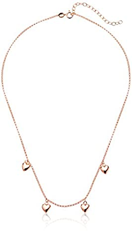 Rose Gold Plated Sterling Silver Open Hearts Charn Necklace, 16
