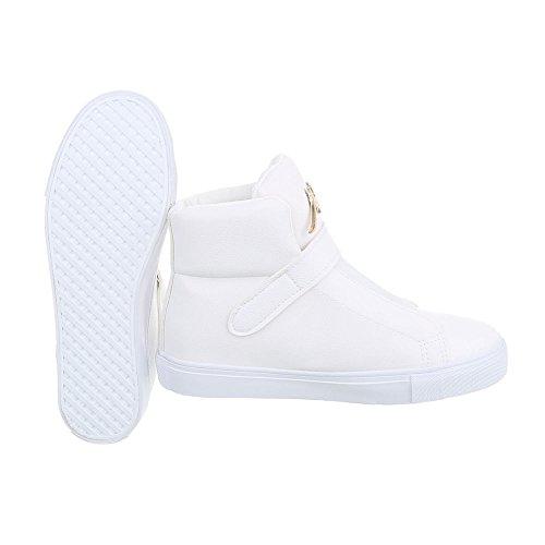 Ital-Design Sneakers High Damenschuhe High-Top Sneakers Klettverschluss Freizeitschuhe Weiß
